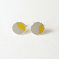 Pop Art Studs, Grey and Yellow, Minimalist, Everyday Earrings