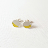Pop Art Studs, Grey and Yellow, Minimalist, Everyday Jewellery