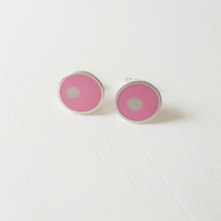 Pop Art Studs, Pink and Grey, Minimalist, Everyday Earrings