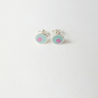 Pop Art Studs, Turquoise and Pink, Minimalist, Everyday Earrings