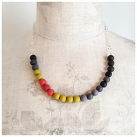 Colourful Grey, Yellow and Coral Beaded Necklace, Modern, Contemporary Jewellery