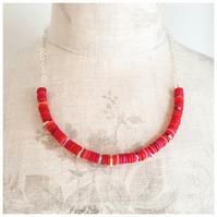 Bright Red Tiny Disc Sterling Silver Necklace, Modern, Contemporary Jewellery