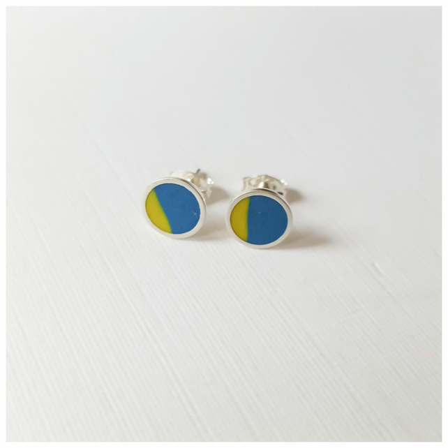 Pop Art Studs, Blue and Yellow, Minimalist, Everyday Earrings