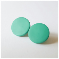 Giant Jade Green Colour Dot Polymer Clay Stud Earrings