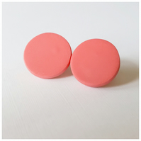 Giant Coral Colour Dot Polymer Clay Stud Earrings