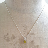 Yellow Colour Drop Pendant Necklace, Minimalist, Everyday Jewellery