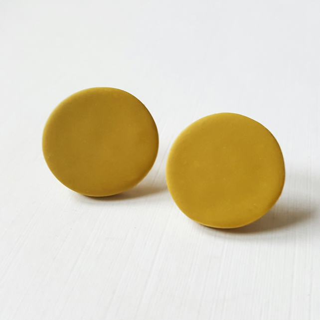 Giant Mustard Colour Dot Polymer Clay Stud Earrings