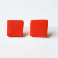 Giant Orange Square Colour Dot Polymer Clay Studs