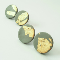 Giant Grey and Gold Leaf Circle Stud Earrings