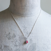 Red Drop Sterling Silver Pendant Necklace, Minimalist, Everyday Jewellery