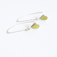 Yellow Colour Drop Sterling Silver Earrings, Minimalist, Everyday Jewellery