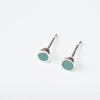 Tiny Colour Dot Stud Earrings Pine Green, Minimalist, Everyday Jewellery