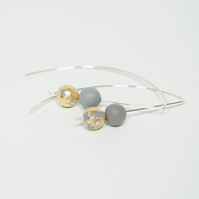 Grey and Gold Metallic Long Sterling Silver Wire Earrings Contemporary Jewellery