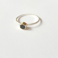 Geometric Hexagon or Square Stacking Ring, Minimalist, Everyday Jewellery