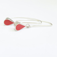 Red Colour Drop Sterling Silver Earrings, Minimalist, Everyday Jewellery
