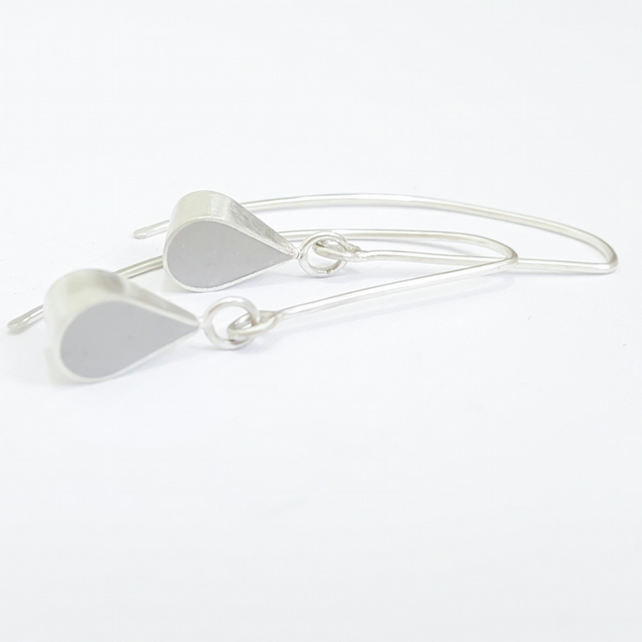 Grey Colour Drop Sterling Silver Earrings, Minimalist, Everyday Jewellery