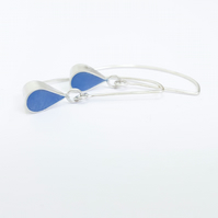 Blue Colour Drop Sterling Silver Earrings, Minimalist Everyday Jewellery