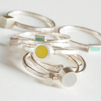 Colour Dot Stacking Ring, Minimalist, Everyday Jewellery, Various Colours
