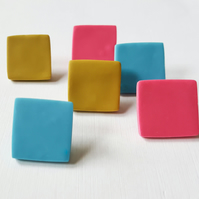Giant Square Colour Dot Polymer Clay Studs in various colours