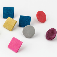 Giant Square or Circle Colour Dot Polymer Clay Studs in various colours