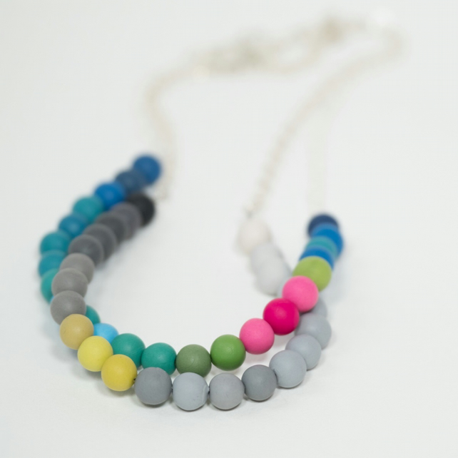 Colourful Handmade Beaded Necklace, Modern, Contemporary Jewellery