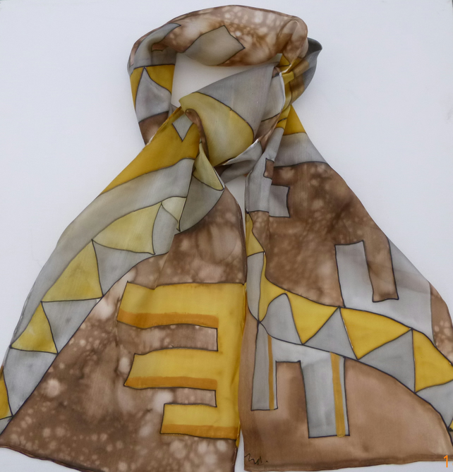 Brown and ochre geometric design silk scarf