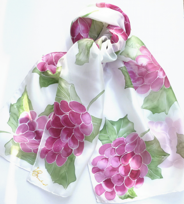 Red Grapes hand painted silk scarf