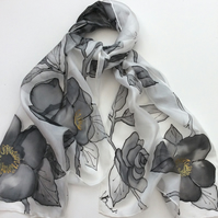 Grey Roses  hand painted silk scarf