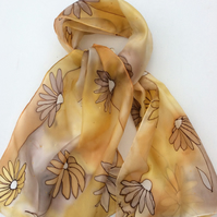 Gold Daisy hand painted  Silk Scarf