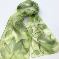 Green Leaves hand  painted silk scarf size  25 x 150cm
