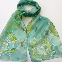 Green Spider's Web hand painted silk scarf