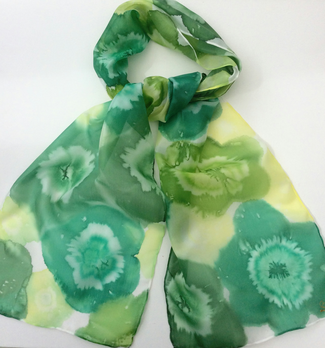 Green Floral hand painted silk scarf