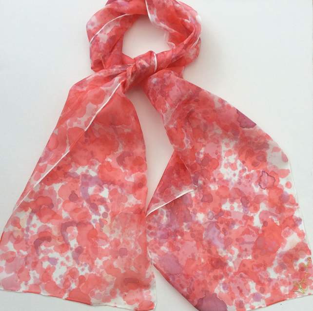 Red Splatter  hand  painted silk scarf