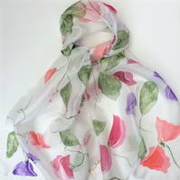 Sweet Peas hand painted silk scarf