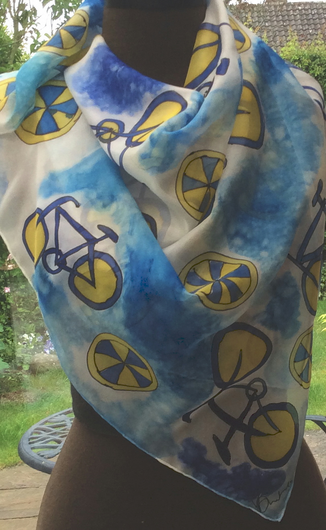 Blue and Yellow Bicycles hand painted silk scarf