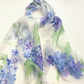 Blue Delphiniums hand painted silk scarf
