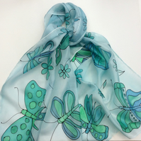 Aqua and Green Butterfly hand painted silk scarf