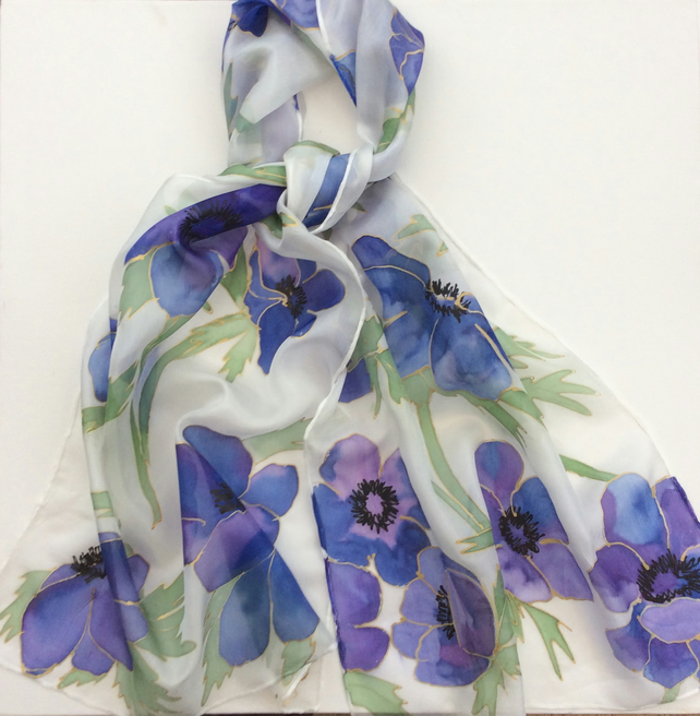 Blue Anemone hand painted silk scarf