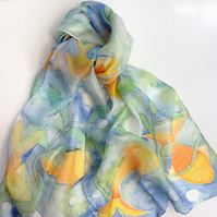 Orange Fish hand painted silk scarf