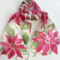 Red Clematis hand painted silk scarf