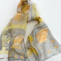Grey and Peach pastels hand painted silk scarf