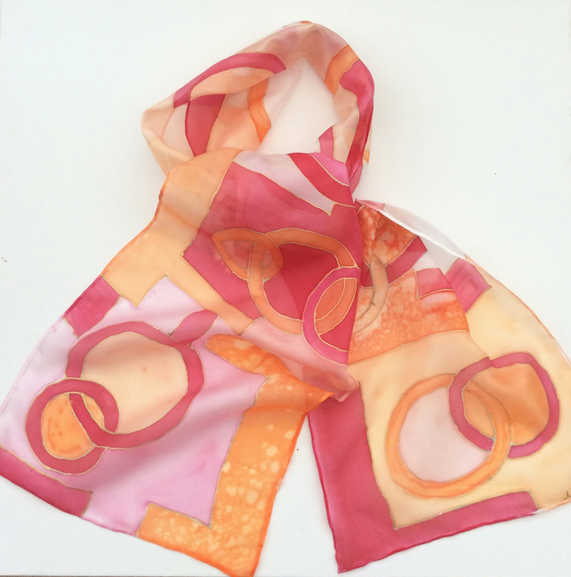 Red and orange abstract  hand  painted silk scarf
