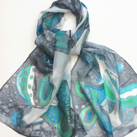 Blue and Green Butterfly  hand painted silk scarf