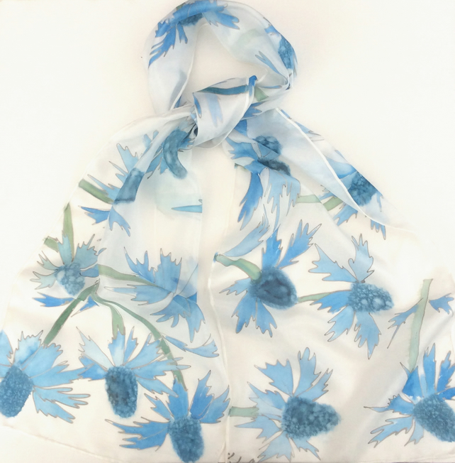Sea Holly hand painted silk scarf