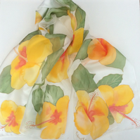 Yellow Hibiscus hand painted silk scarf