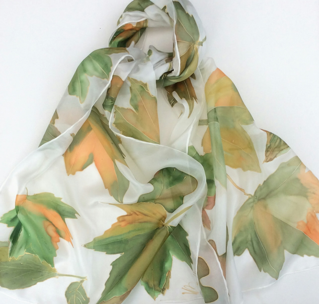 Autumn leaves tinged with gold hand painted silk scarf