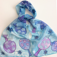 Blue Lollipop Trees  hand painted silk scarf