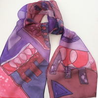 Jewel colours abstract design hand painted silk scarf