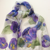 Purple Pansies hand painted silk scarf