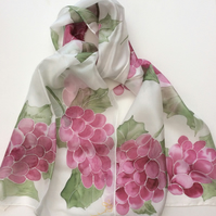 Bunches of Grapes hand painted silk scarf